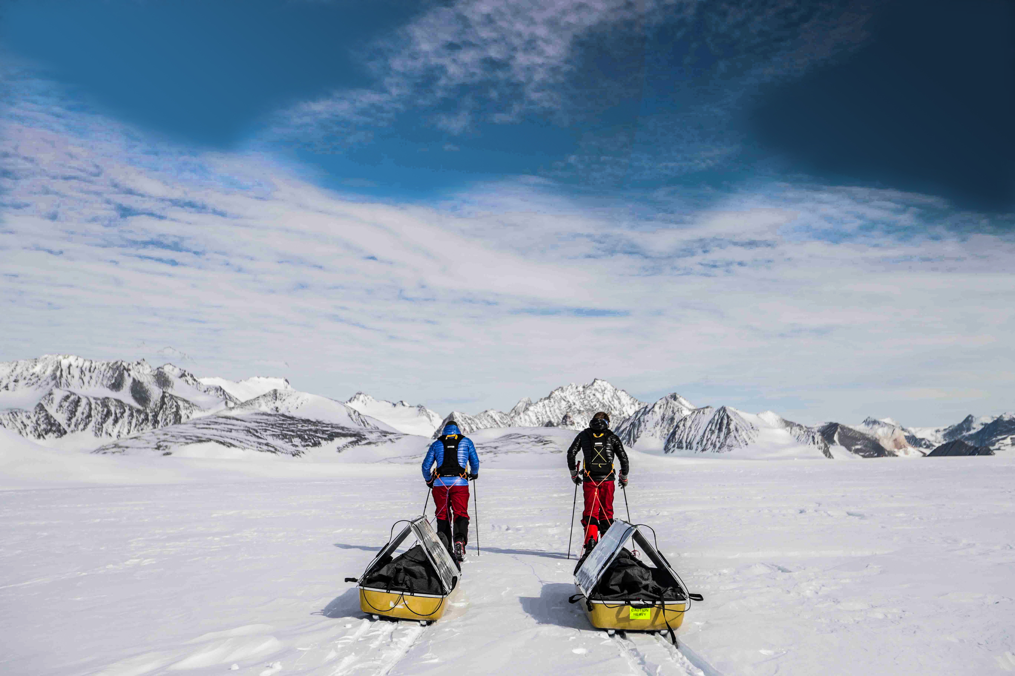 Robert and Barney Swan Begin Walking on the World's First Expedition to the South Pole Using Only Renewable